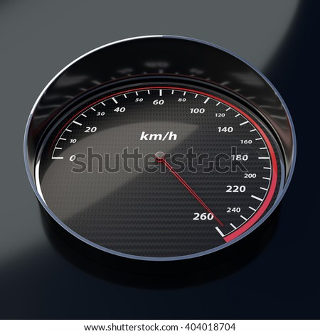 carbon fiber speed indicator shows with bright red pin high speed - stock photo