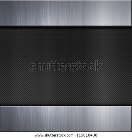 Carbon fibre background and aluminum metal plate bars