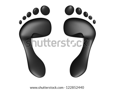 Carbon Footprint concept isolated on a white background - stock photo
