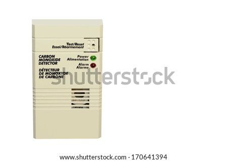 Carbon monoxide detector, isolated on white. - stock photo