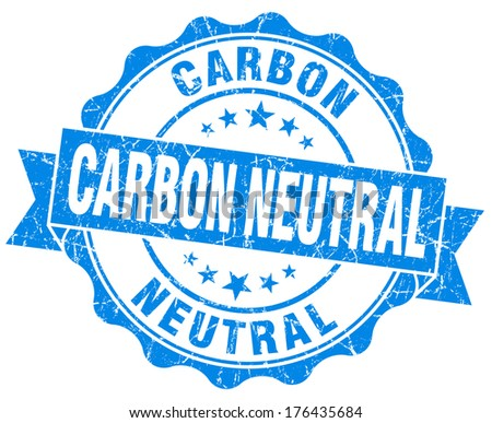 Carbon neutral blue vintage seal isolated on white - stock photo