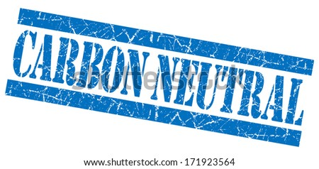 Carbon neutral grunge blue stamp - stock photo