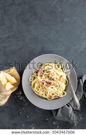 carbonara pasta spaghetti pancetta egg hard stock foto 1043467606 shutterstock. Black Bedroom Furniture Sets. Home Design Ideas