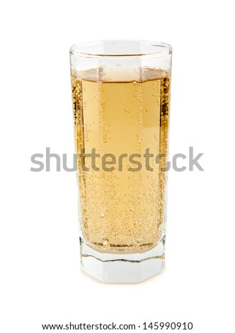carbonated soft drink in a glass on a white background - stock photo