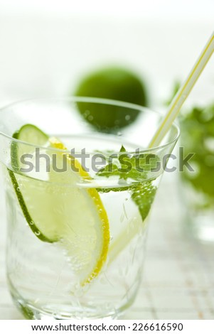 Carbonated water with lemon and lime