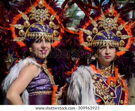 CARBONERAS, SPAIN - JUNE 13: Unidentified girls wearing Moors costumes in Moros y Cristianos parade. Carboneras June 13,2015.