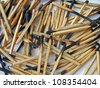 carbonized wooden matches heap, stress environment details - stock photo