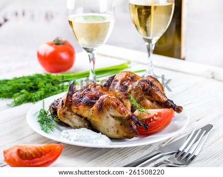 Carcasses of quail with tomatoes and wine.