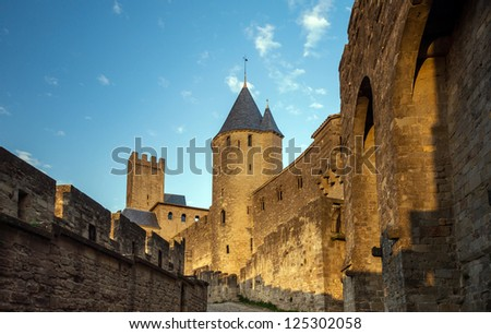 Carcassone fortress at evening sunset. Languedoc, France.
