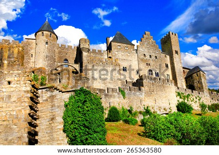 Carcassonne - biggest fortress in Europe, France - stock photo