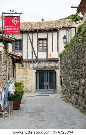 CARCASSONNE, FRANCE - MAY 05, 2015: Street with medieval houses in old town of Carcassonne, Languedoc-Roussillon, France
