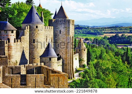 Carcassonne - impressive fortress . France - stock photo
