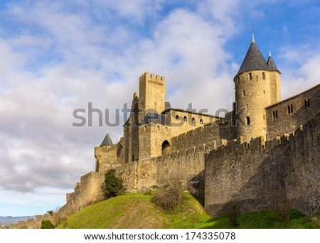 Carcassonne town walls - France, Languedoc-Roussillon - stock photo