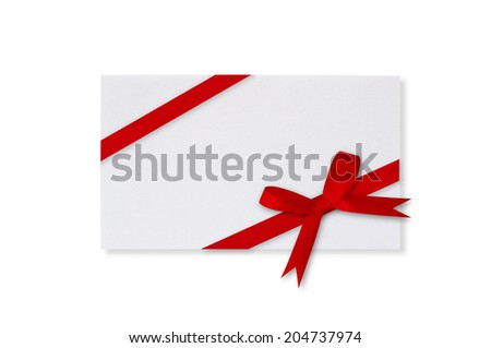 Card and red bow on a white background. - stock photo