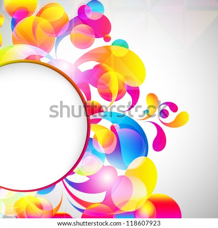 Card background. Abstract bright color drops and clean place for your text.