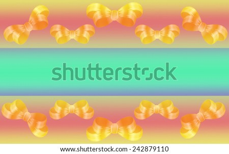 Card background for happy celebration, birthday, valentines day, special occasion with gold ribbon bows and copy-space - stock photo