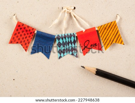 card birthday,Festive vintage garlands with bunting flags in autumn colors - stock photo