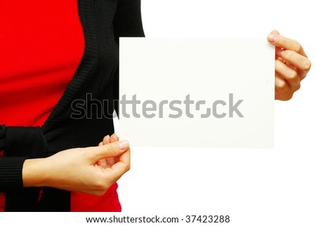 card blank in a hand isolated on white