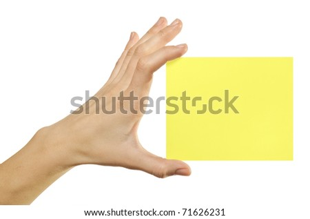 card blank in a hand on the white baskgrounds - stock photo