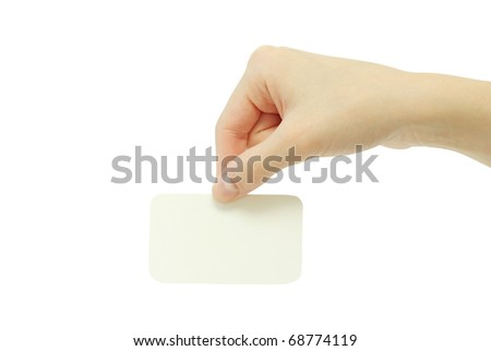 card blanks in a hand on white background