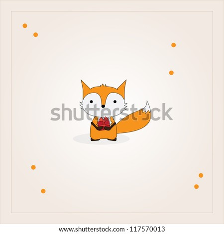 Card design with fox holding a gift