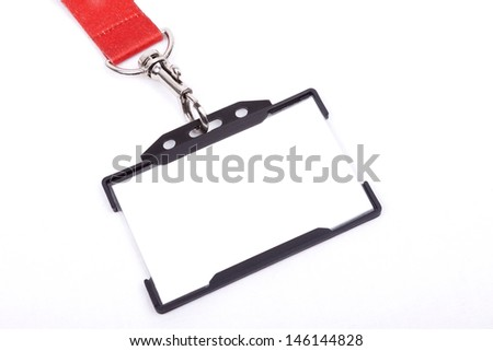 Card empty ID badge on a white background - stock photo