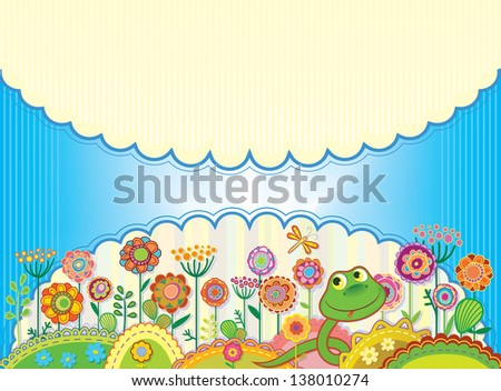 Card for congratulation or invitation. Bright floral meadow with a snake and a dragonfly. Raster version of vector file - stock photo