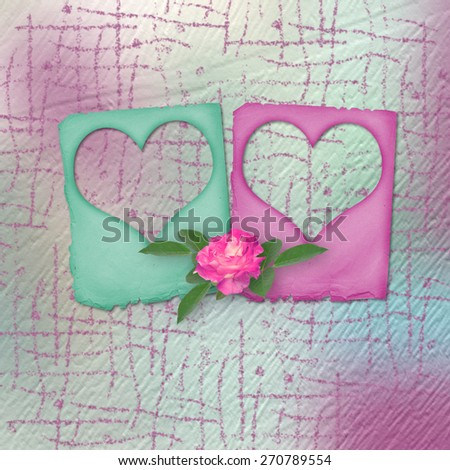 Card for congratulation or invitation with slides and pink roses - stock photo