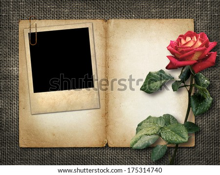 Card for invitation or congratulation with red rose and old photo - stock photo