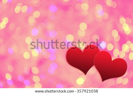 Card for valentines day from Red heart on bokeh background - stock photo