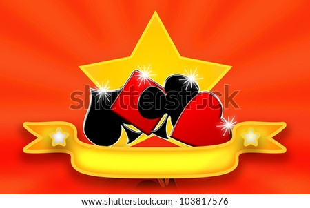 Card game banner with playing cards suits and golden star of luck