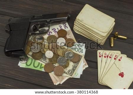 Card game poker. The winning set. Royal flash in poker. Gamble for money.   - stock photo