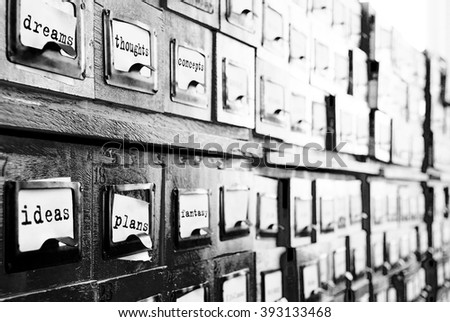 card indexes drawers with signatures - stock photo