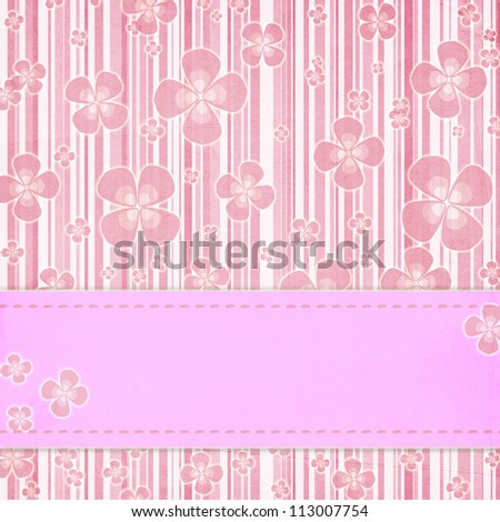 Card invitation  template for baby shower, wedding or birthday with  pink stripes - stock photo