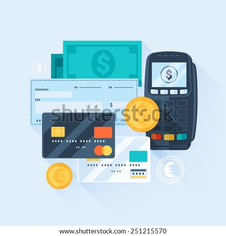 Card, Money, Coins and Cheque. Payment Methods Concept. Flat Style with Long Shadows. Clean Design. Raster Copy. - stock photo