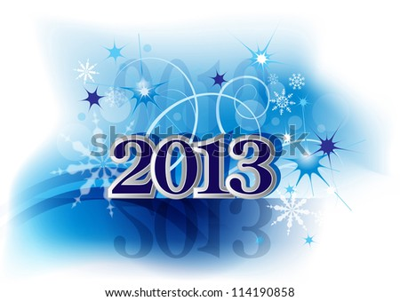 card 2013, new year - blue bacground - stock photo