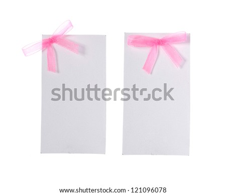 card note with ribbon on white background - stock photo