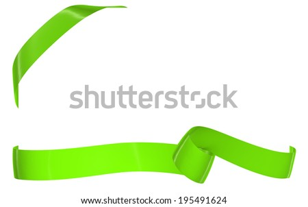 Card note with ribbon on white background, image isolated