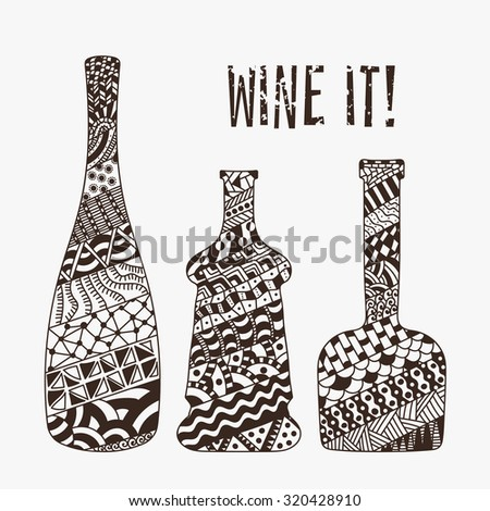 Card of champagne, brandy and whiskey grunge bottles for restaurant and bar menu design. Raster copy of vector file. - stock photo
