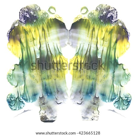 Card of rorschach inkblot test. Fine abstract watercolor painting. Yellow, green, blue and brown paint. Freehand Drawing Smudged Texture Background. Vivid hand made element for original design. - stock photo