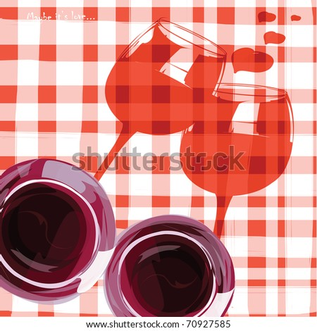 Card on Valentine's day. Wine on red picnic cloth.