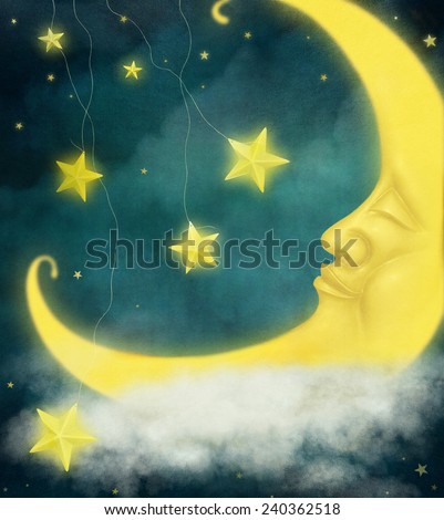 Card or background or illustration with moon and stars - stock photo