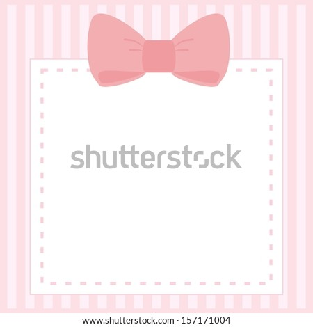 Card or invitation for baby shower, wedding or birthday party with stripes and sweet bow on cute pink background with white space to put your own text.  - stock photo