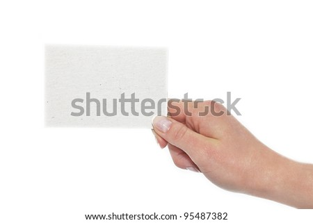 card paper in your hand