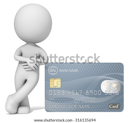 Card Payment Option. Dude 3D character pointing at Credit Card. Generic name,numbers and logo. - stock photo
