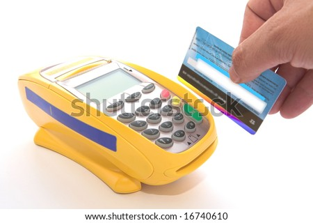card prepared by POS for sale - stock photo
