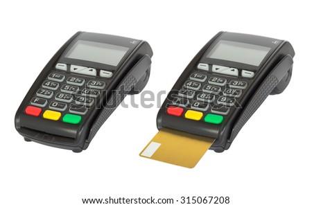 Card reader machine on white background - stock photo