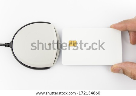 card reader with blank authentication card isolated on white - stock photo