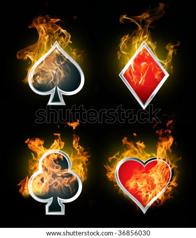 card symbols red and black - stock photo