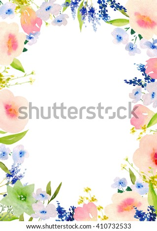 Card template with hand-painted watercolor flowers. Blank space for your text. Clipping path included for fast isolation. Illustration for greeting cards, invitations, and other printing projects.
